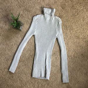 J crew grey ribbed sweater turtleneck top